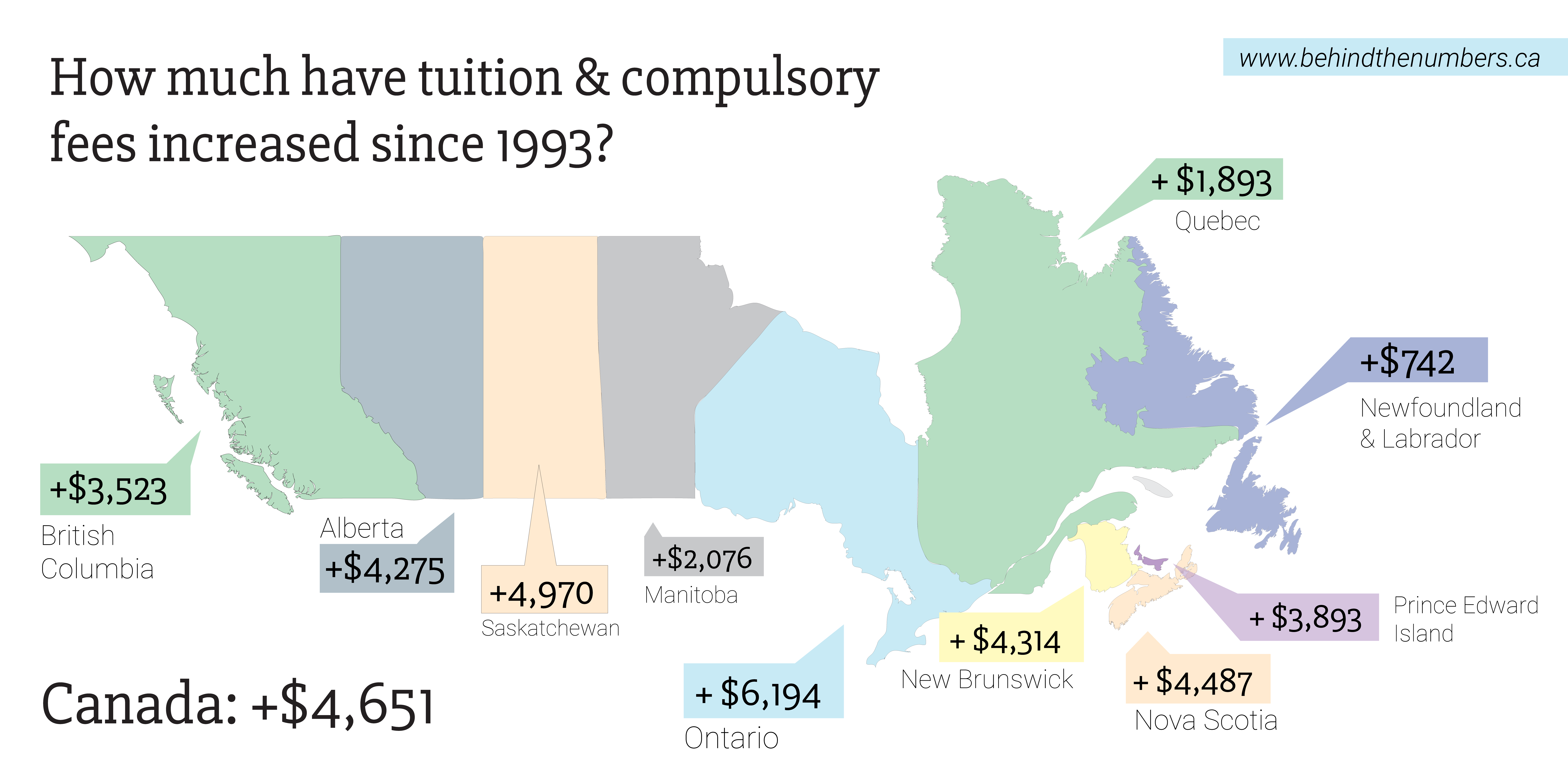 Map demonstrating how much tuition has increased by province.