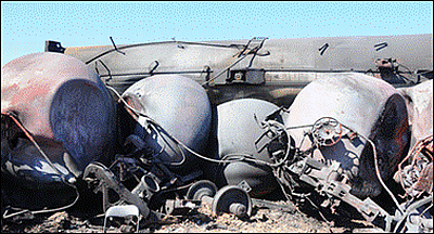 DOT-111 wagons citernes améliorées toujours vulnérables. Image fournie par le Gouvernement du Canada.
