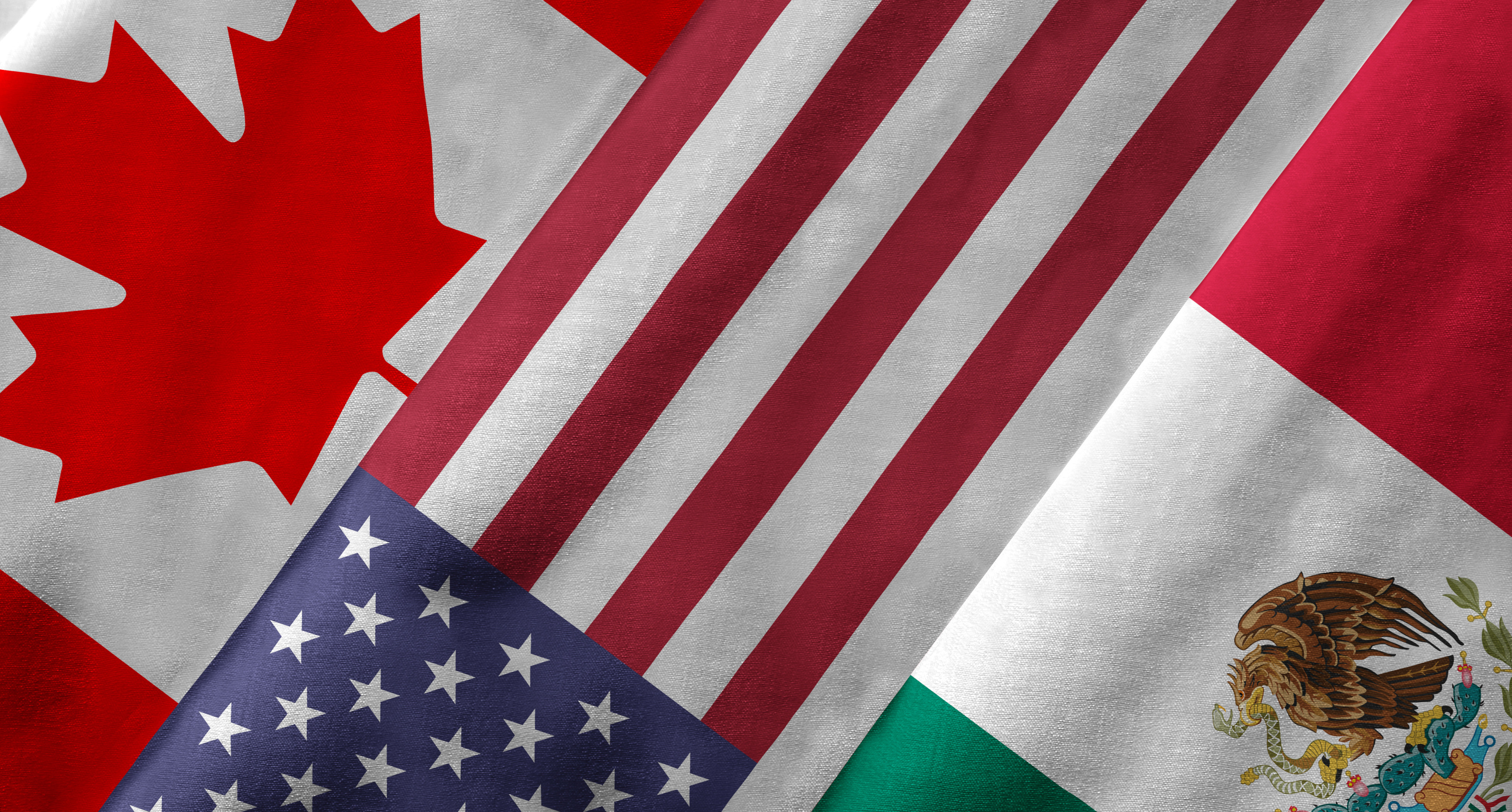 flags of canada, the united states, and mexico -- the member states of nafta