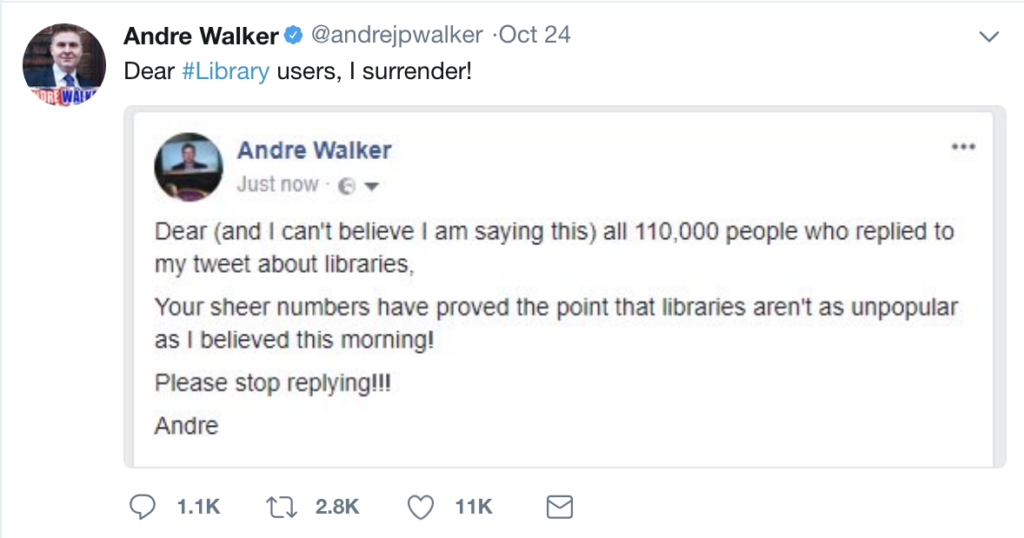 Tweet from Andre Walker about the popularity of libraries