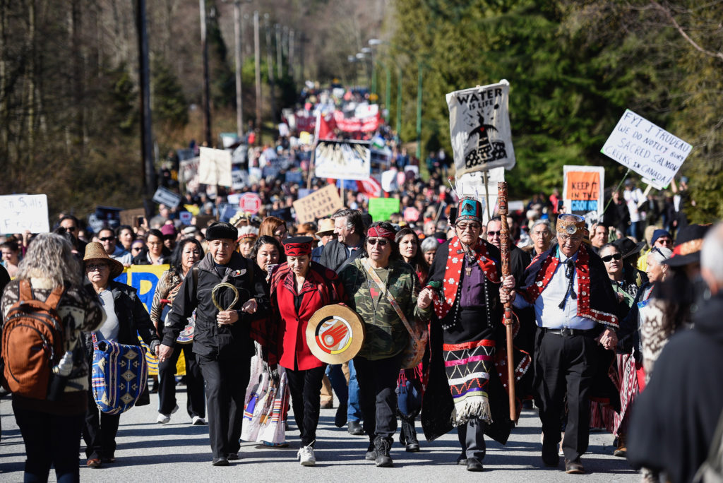 Indigenous water protectors march at the March 10, 2018 event, Protect the Inlet