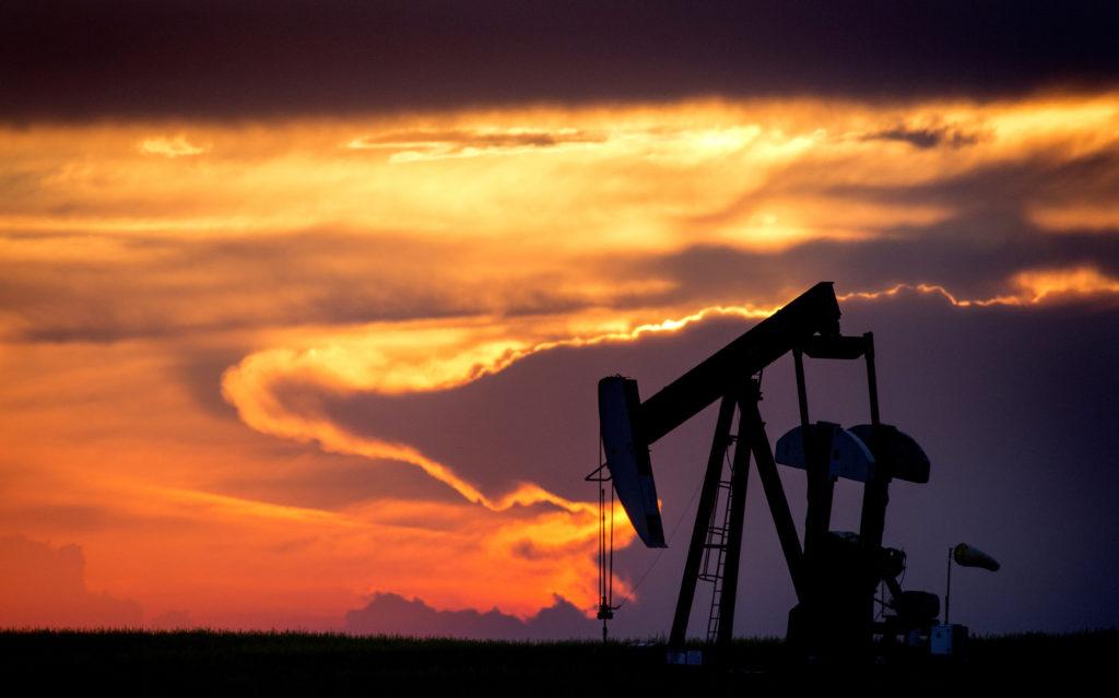 Sillouette Sunset Saskatchewan Orange Color Oil Jack