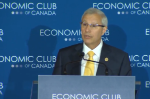 Vic Fedeli talks to the Economic Club of Canada on September 21, 2018
